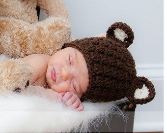 Newborn Bear Hat, Baby Bear Beanie, Toddler Bear Hat, Crochet Bear Hat, Baby Newborn Hat, Bear Hat, Crochet Baby Hat, Newborn Photo Prop
