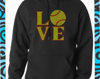 Softball LOVE BLING Hoodie//Softball Rhinestone Hooded Sweatshirt