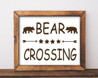 Bear Crossing Rustic Sign Printable Art Print digital Instant Download cabin lodge rustic home decor printable wall art decor bear print