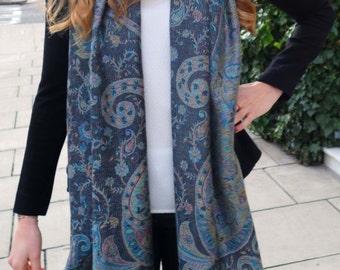 Grey multi paisley pashmina scarf