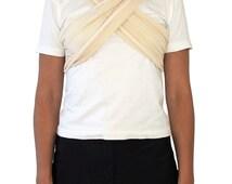 THEATRE Chiffon Drape T-Shirt SIZE SMALL Japanese 90s Vintage White Ivory Japan