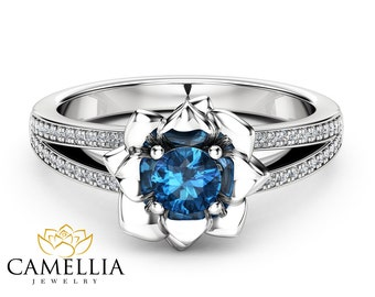 Blue  Diamond Engagement Ring 14K White Gold Diamond Ring Flower Engagement Ring Choose Your 0.5CT Diamond
