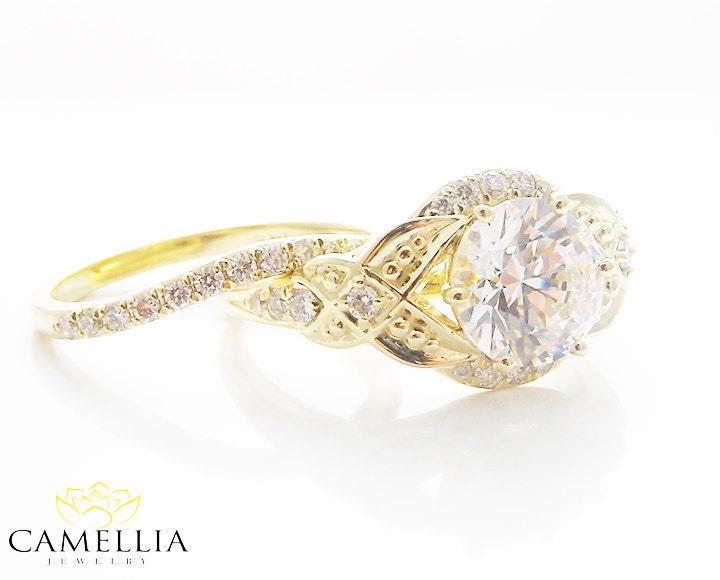 vintage moissanite engagement ring set 14k yellow gold