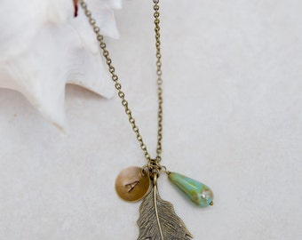 Personalized Necklace, Initial Jewelry, Brass Feather, long aqua necklace, layering necklace, bohemian feather charm, Custom Necklace,