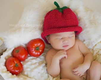 Knit Tomato Hat, Baby Tomato Hat, Baby Shower Gift, Summer Hat, Reborn Baby, Garden Hat, Fall Photos, Summer Photo Prop, Halloween Costume,