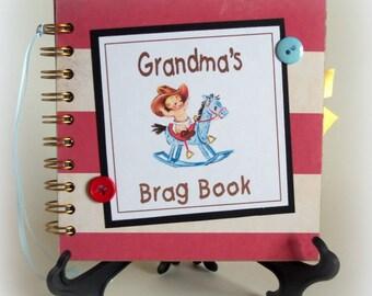 GRANDMA'S Brag Book photo album scrapbook keepsake new baby boy book Christmas gift
