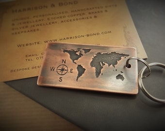 Map key ring etsy world map keyringcopper key ringtravel key chainadventurekey chain gumiabroncs Image collections