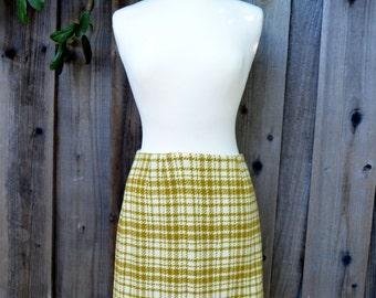 Vintage Pencil Skirt, Tami Original San Francisco, Mustard Yellow Plaid Skirt, Wool Blend, c 1960s-1970s