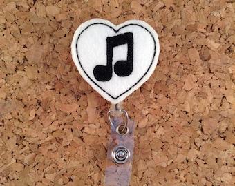 Music Note Badge Reel |  Music Teacher Badge Reels |  Retractable ID Badge Holder | Music Badge Pull  | 954