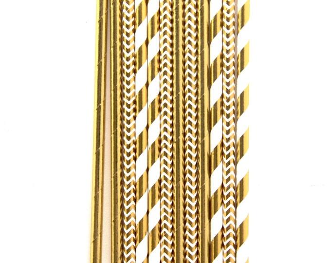Cloud Nine Straw, Decorative Straw, Gold Straw Flag, Gold Paper Straw, Stripe Straw, Party Decor, Gold Wedding, Buffet, Baby Shower Decor