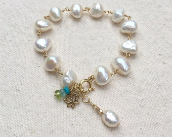 14k Wire Wrapped White Freshwater Pearl Bracelet by CH Maui