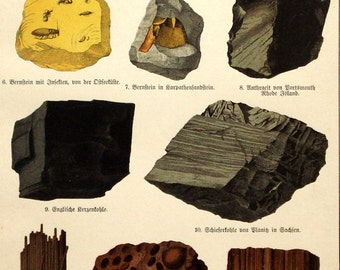 Rocks, stones and minerals, original 1888 geology print - Mineralogy - 127 years old antique chromolithograph illustration (B503)