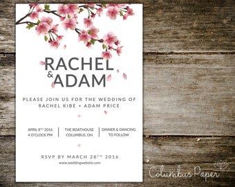 Cherry Blossom Invitation + Envelope (Set of 20)