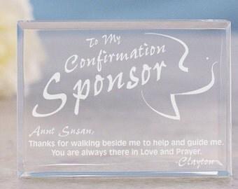 Confirmation Sponsor Engraved Keepsake, Confirmation Sponsor Gift, Custom Confirmation Gift
