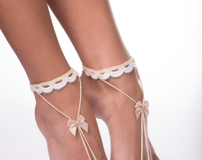 Beach wedding barefoot sandals/Barefoot sandals/ Foot Jewelry/Destination Wedding Barefoot Sandals/ Nude shoes/barefoot sandals wedding