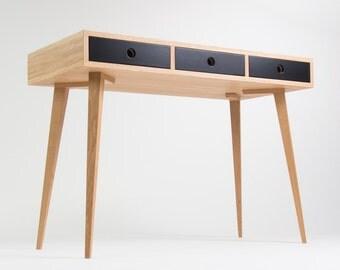 Work desk, computer desk, office desk, mid century, black drawers, scandinavian design