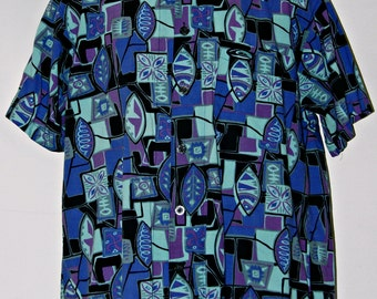Quiksilver Surfer Hawaiian Shirt, Aloha Shirt, Purple, Blue, Black, Floral, Leaf Pattern, Men's Size Large, Tropical, Beach, Casual Shirt