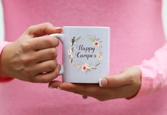 HAPPY CAMPER   With Watercolor Wreath   Message Mugs   11 oz.
