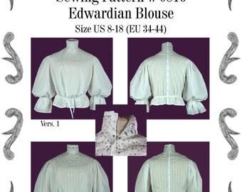 Edwardian Blouse Sewing Pattern #0816 Size US 8-30 (EU 34-56) PFD Download