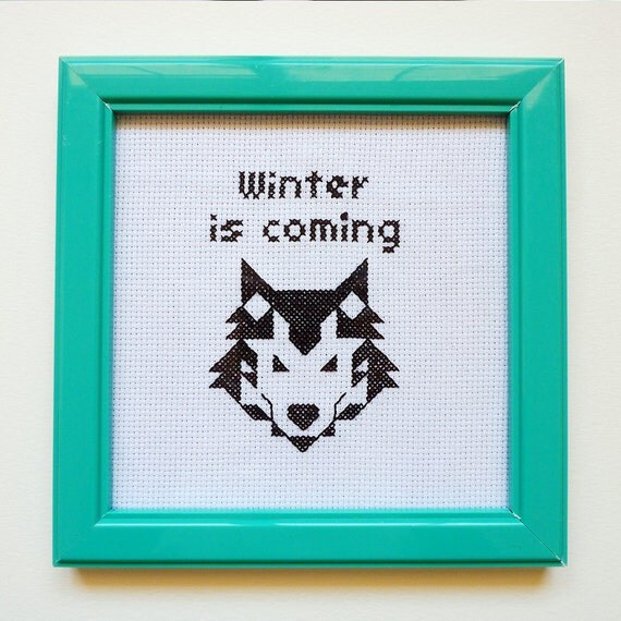 Game of Thrones cross stitch Art - Winter is coming - Embroidered geek wolf portrait