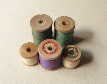 Set of 5 Vintage Thread Spools, Antique Wooden Spools, Retro Thread Spools, Various Shapes Spools, Studio Décor, Vintage Decoration