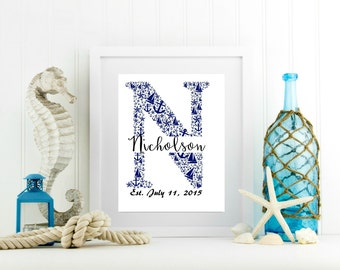 Housewarming Gift, Personalized Last Name, Family Name Wedding Gift, Nautical Letter Art, Beach Themed Wedding, Anniversary Date Gift
