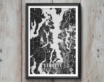 Seattle Washington Map with Coordinates, Wall Art, Seattle Map, Map Art, Map Print, Seattle Print, Seattle Art, Map, Seattle, Washington Art