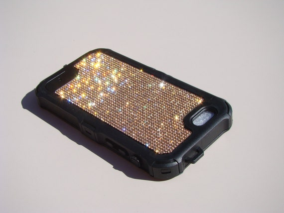 "iPhone 6 / 6s  4.7"" Rose Gold Diamond Rhinestone Crystals on Black Rubber "" The Terminator "" Case. Genuine RangseeCrystalCases."