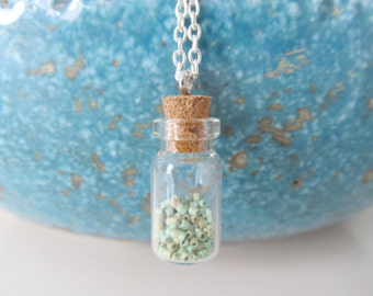 Bottle necklace, turquoise necklace