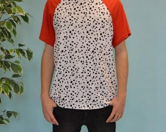 Red dalmatian print raglan