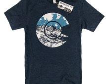 Mens COLORADO Flag Shirt // Colorado Mountain Tee, Heather Navy, Colorado TShirt, Colorado Gifts, Colorado Mountains, Colorado Souvenir
