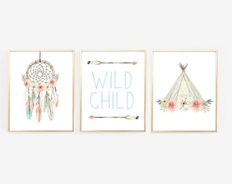 Boho Nursery Art, Dream Catcher, Teepee, Arrow, Native American