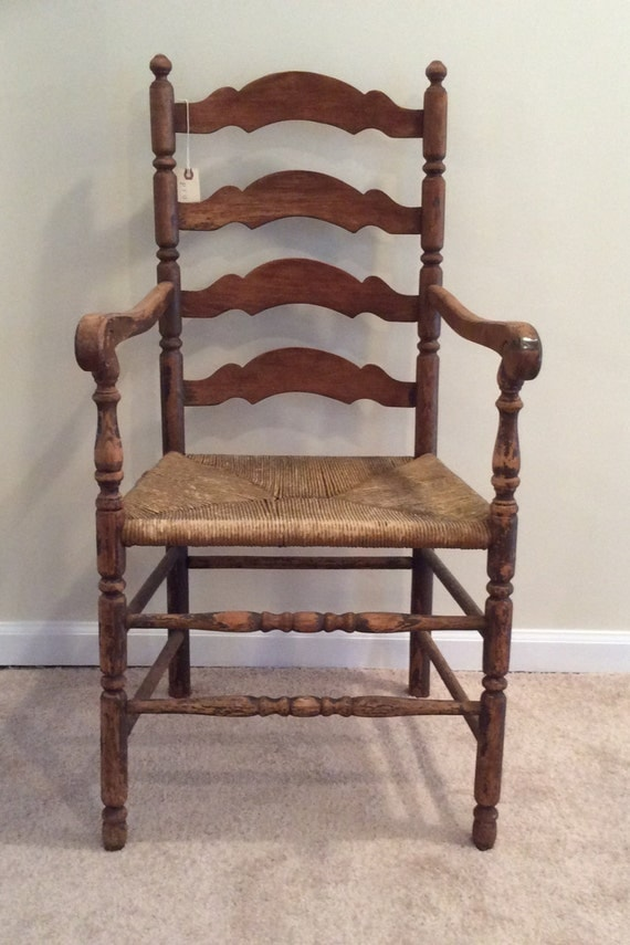 Antique vintage wooden rush arm chair old captains ladder back