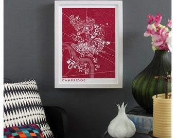 CAMBRIDGE MASSACHUSETTS Map Print - graphic drawing art poster Harvard University