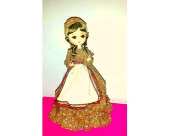 Vintage Musical Pose Doll,Musical Spinning Nylon Doll, Bradley, Cloth Doll,Big EYES Doll,Stockinette, Vintage Dolls,1970s