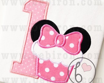 Mouse Ears Cupcake First Birthday Number One Girl Applique Design Machine Embroidery Pattern Instant Download