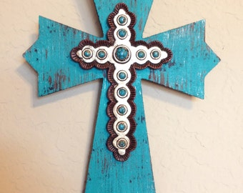 Large Wooden Wall Cross Distressed Blue With By