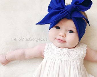 COBALT Gorgeous Wrap- headwrap; fabric head wrap; blue head wrap; newborn headband; baby headband; toddler headband; baby headwrap