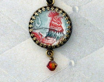 Vintage Postage Stamp Jewelry: Rooster 3 Pendant Necklace