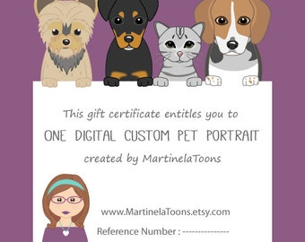 Quirky custom pet portrait three pets cartoon portraits from 1 pet custom portrait last minute christmas gift gift certificate for a digital printable yelopaper Gallery