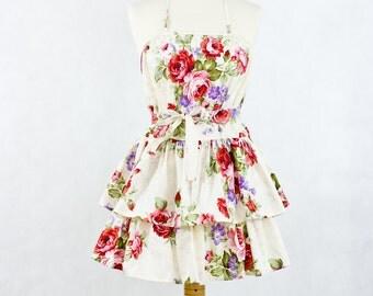 Flirty floral apron, cotton apron, Apron Och 1