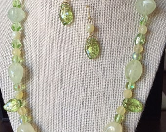 Item #173   Yellow fire agate and glass bead necklace earring set