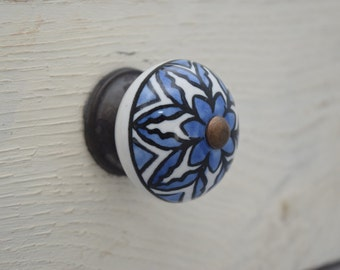 Ceramic Drawer Knobs in Blue and White With Bonze Toned Hardware, Hand Painted Knobs, Flower Knobs, Cabinet Pulls, Nursery Decor