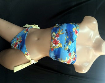 Blue Hawaiian Print Two-Piece Swimsuit (Top Size L & Bottom Size S)