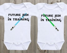 Future Jedi Twin Outfit Baby Onesies Outfit for twins Baby shower gift baby gift for boy or girl Newborn Onesie Funny Onesie