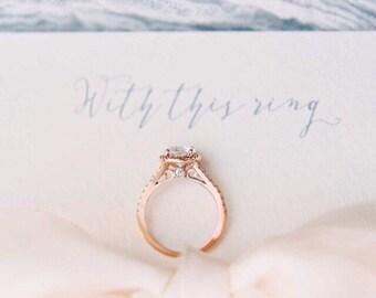 7.5mm Forever One Moissanite Round Halo Diamond Engagement Ring - Split Shank - 14K Rose Gold - Peekaboo Diamond - Affordable Wedding Ring