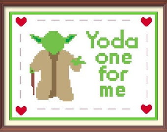 Yoda Love Cross Stitch Pattern Valentines Download Embroidery Needlepoint Buy 2 Patterns Get 1 FREE!!