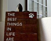"Reclaimed Rustic Sign: The Best Things In Life Are Rescued 10""x12"" // Rescue Dogs // Rescue Cats //"