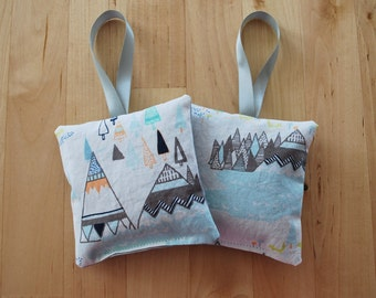 Lavender Sachets - Set of 2 - Woodland Tepee / Teepee / Tipi - Baby Aromatherapy - Indian Summer Collection