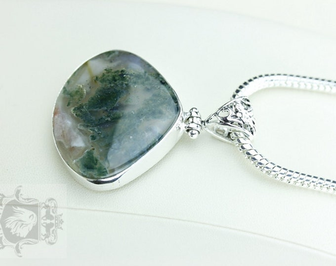 Great Formation! Moss Agate 925 S0LID Sterling Silver Pendant + 4MM Snake Chain & Free Worldwide Shipping P3682
